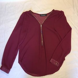 NWT- burgundy blouse, size small